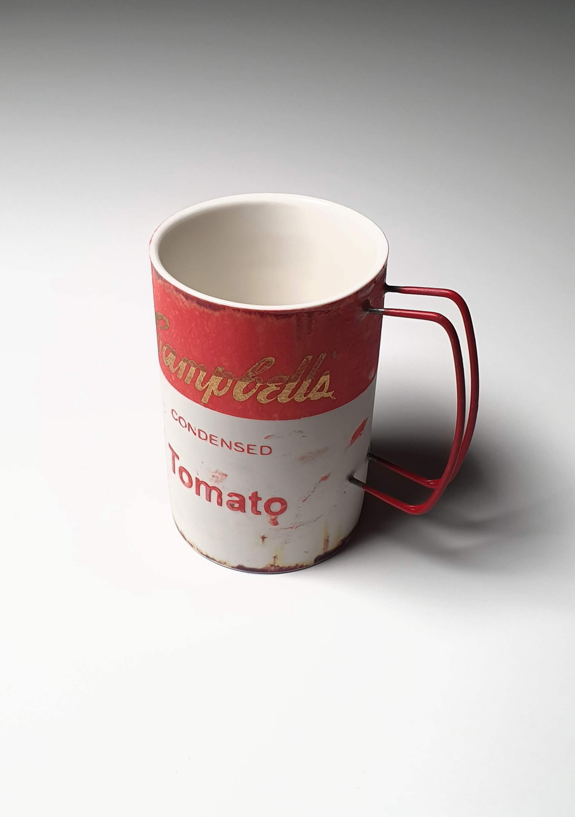 Campbell Soup Mug in colour red handmade