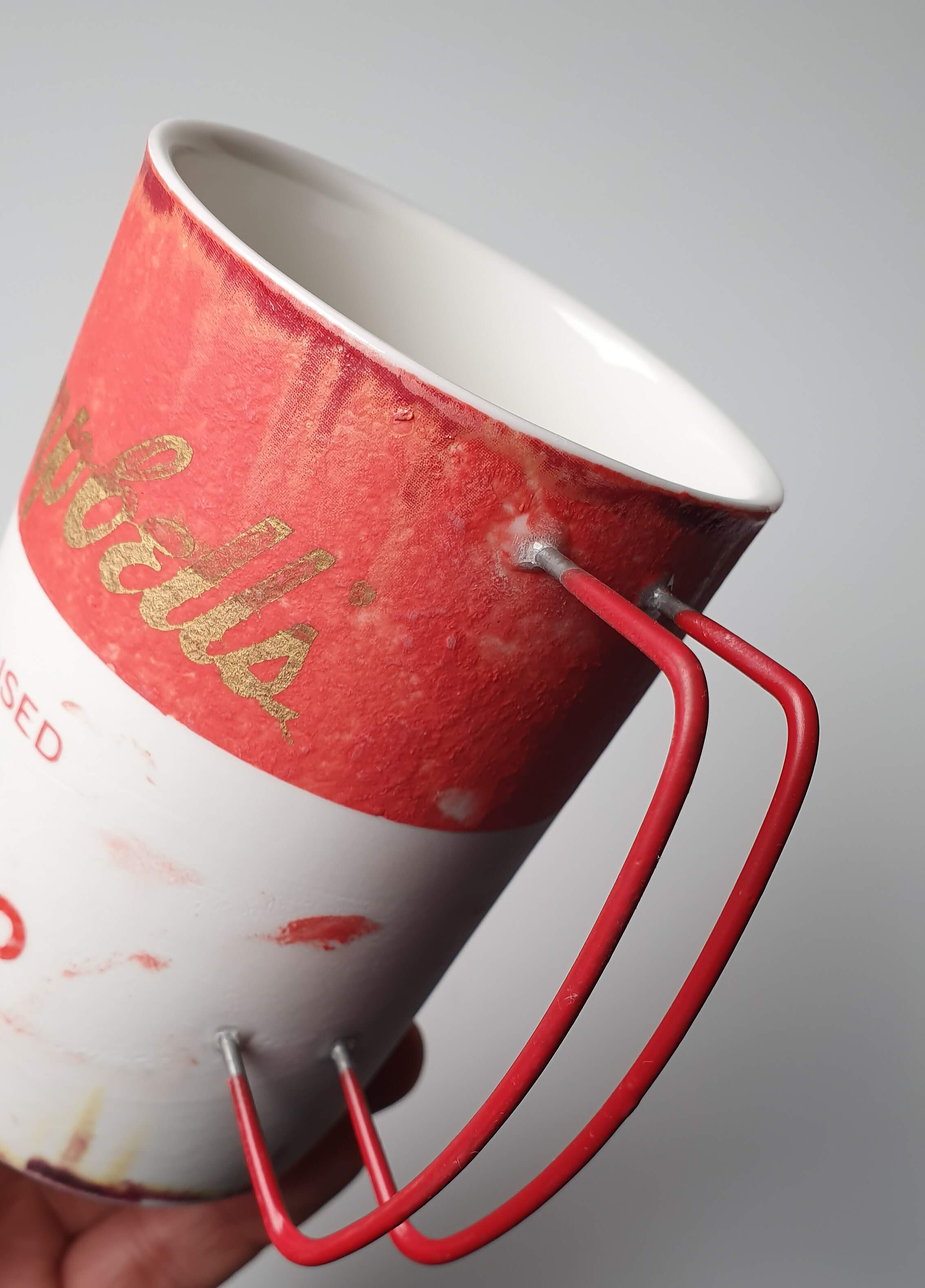 Campbell Soup Mug handmade in red