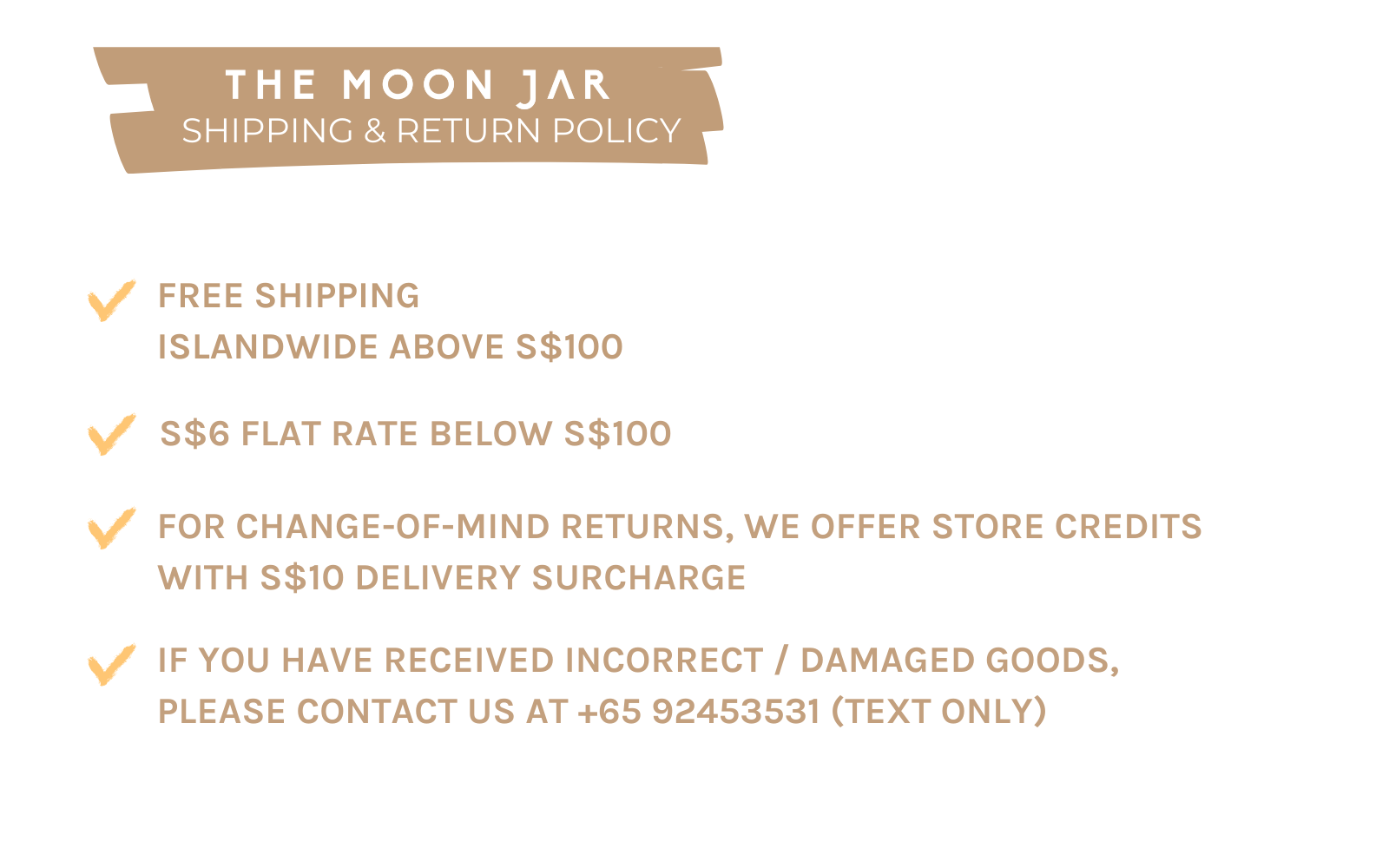 shipping and refund policy The Moon Jar