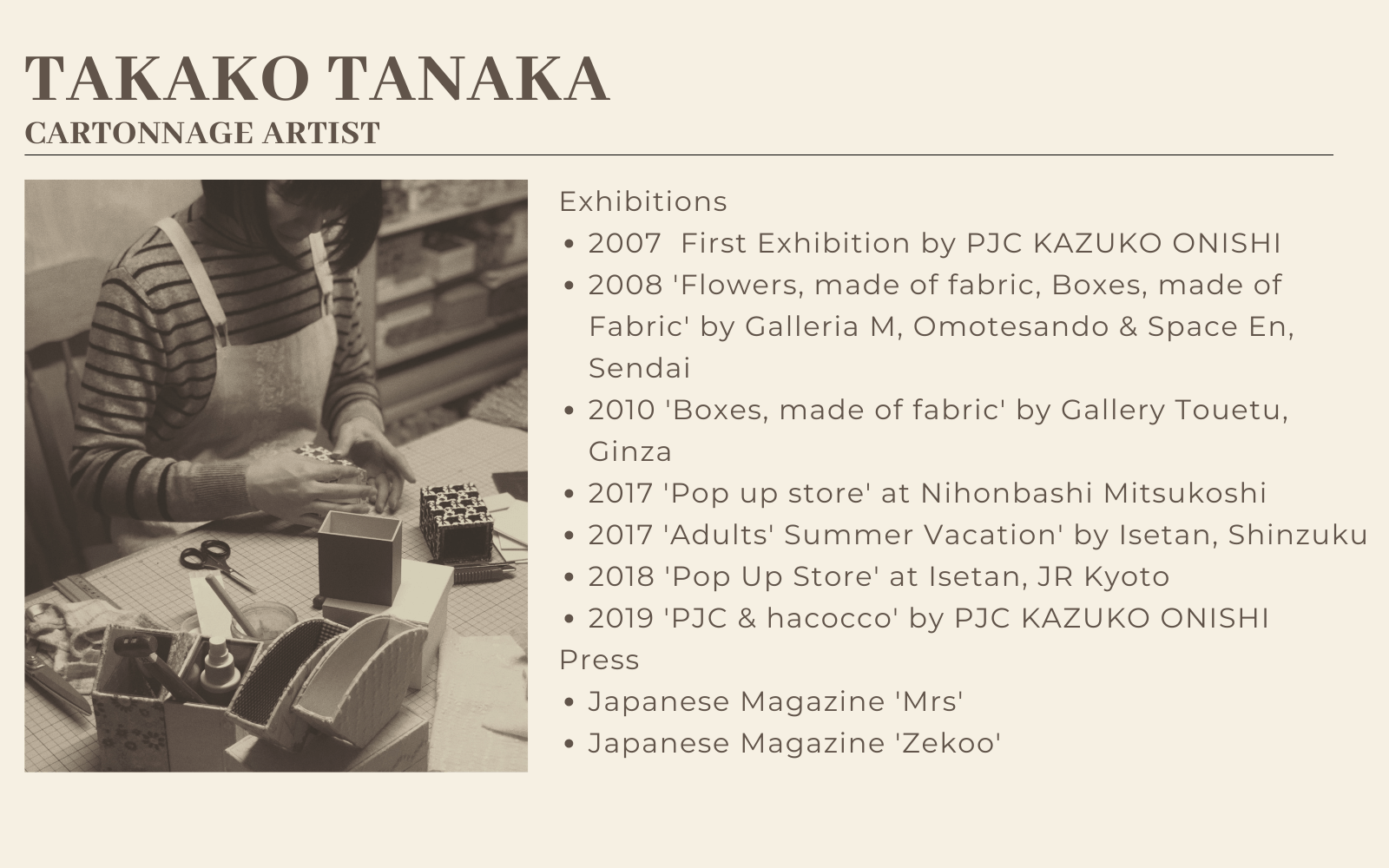 takako tanaka cartonnage artist introduction