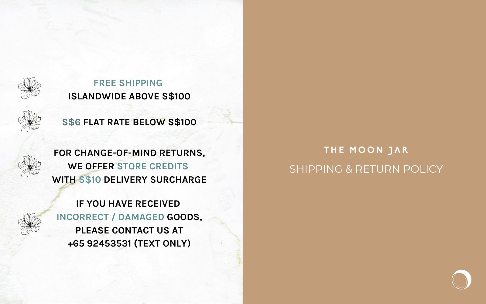 Shipping and return policy of The Moon Jar