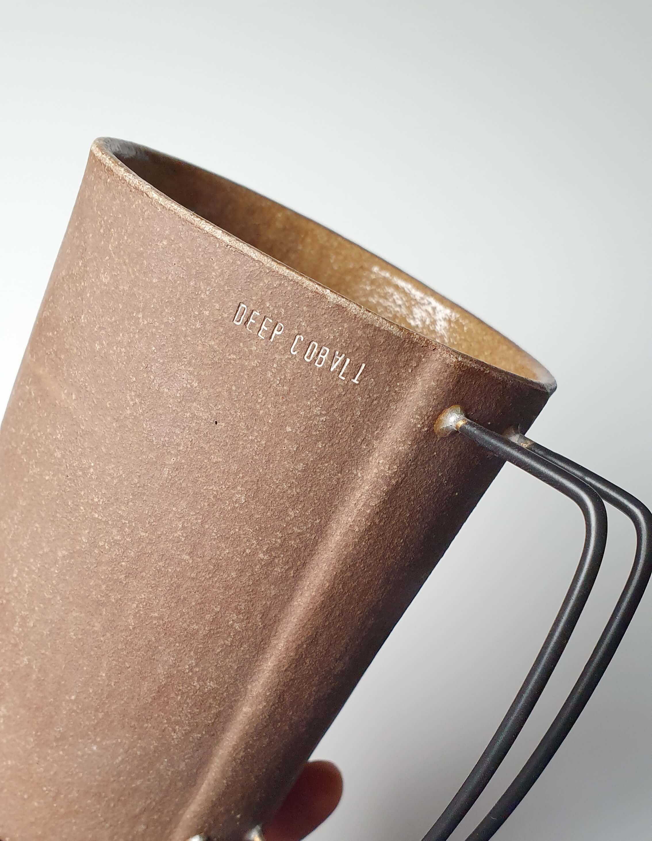 Handmade Vintage Mug in Dark Brown and metal handle
