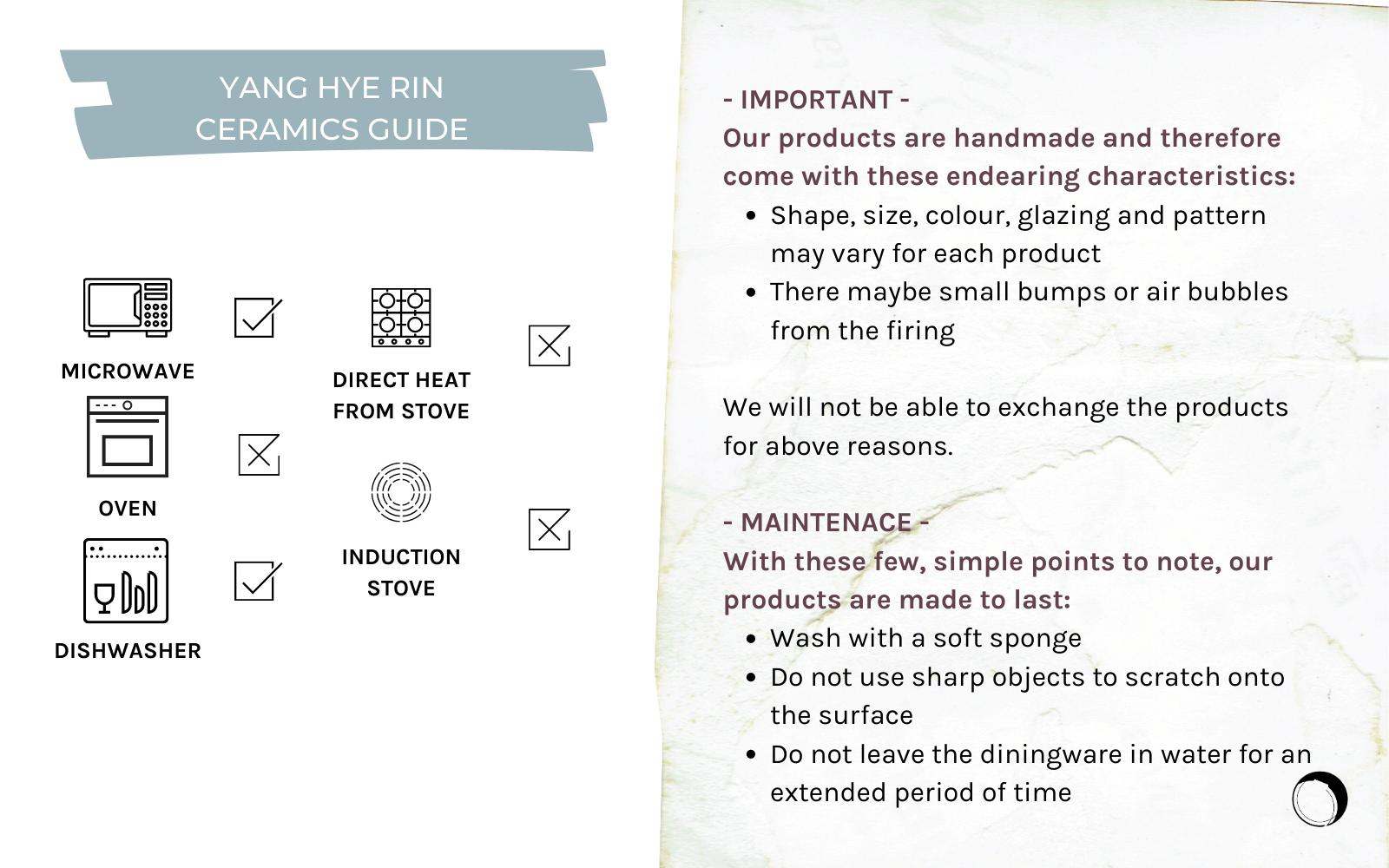 Yang Hye Rin Ceramics Product Care Guide