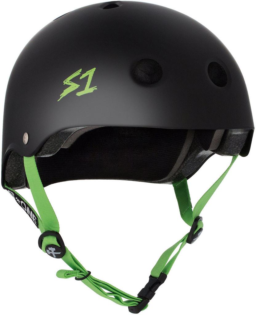 Black Matte w/ Bright Green Straps Skateboard Helmet S1 Lifer front view.