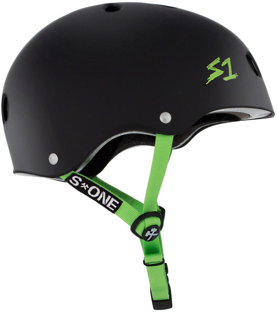 Black Matte w/ Bright Green Straps Bike Helmet S1 Lifer side view.
