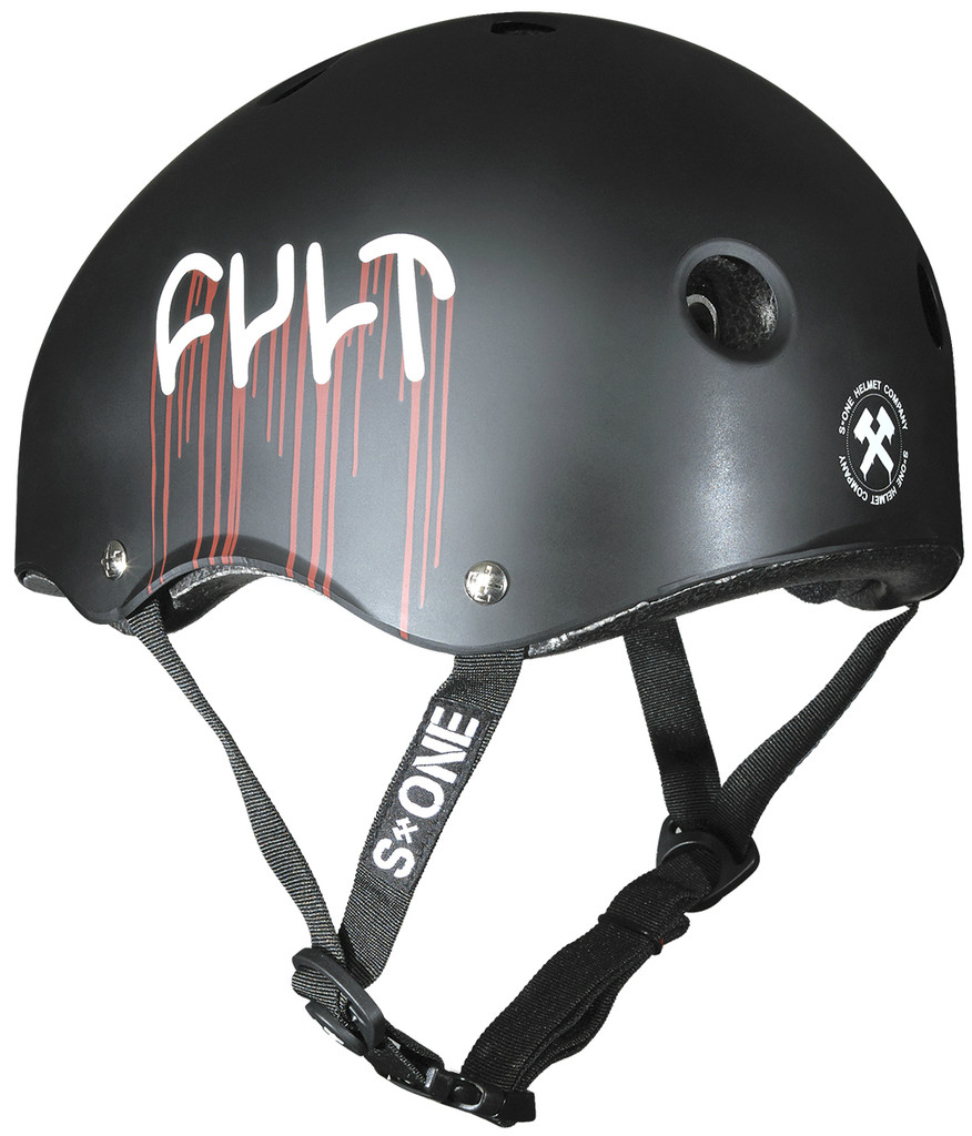 "S1 x Cult helmet with the ""Blood Drip"" Graphic."