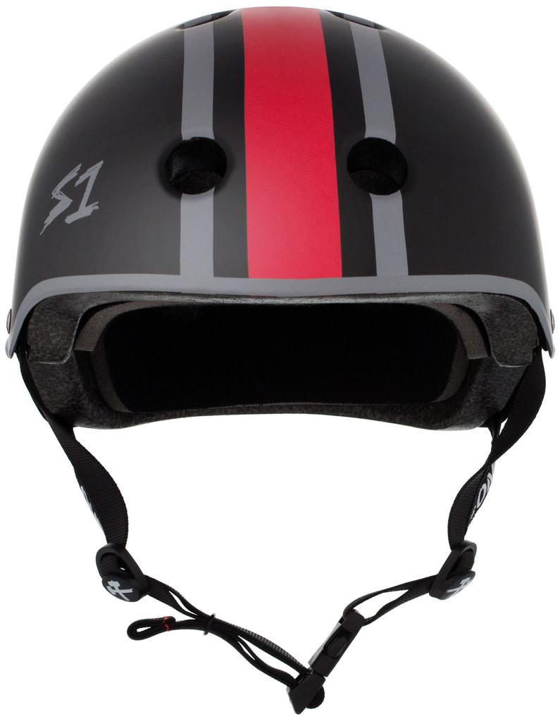 Black Matte Eddie Elguera Skateboard Helmet S1 Lifer front view.