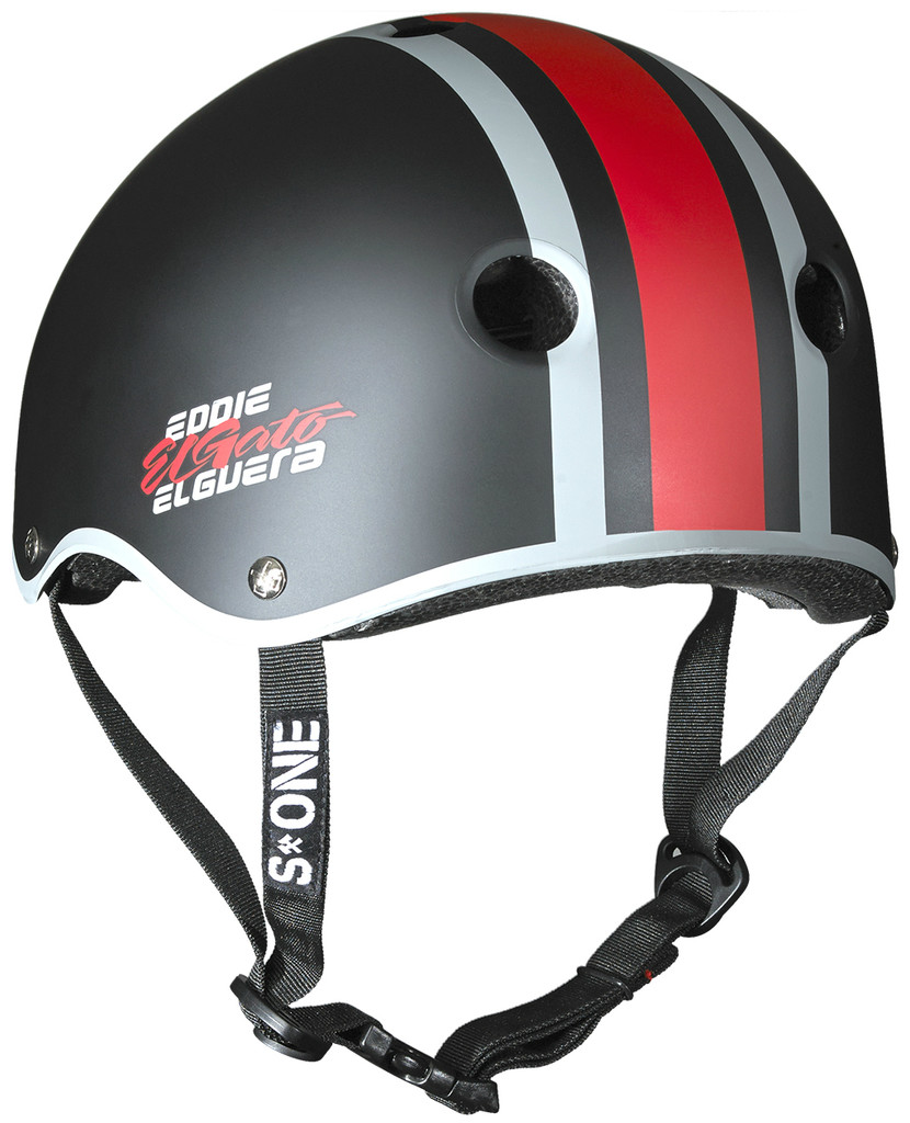 Black Matte Eddie Elguera Skateboarding Helmet S1 Lifer rear 3/4 view