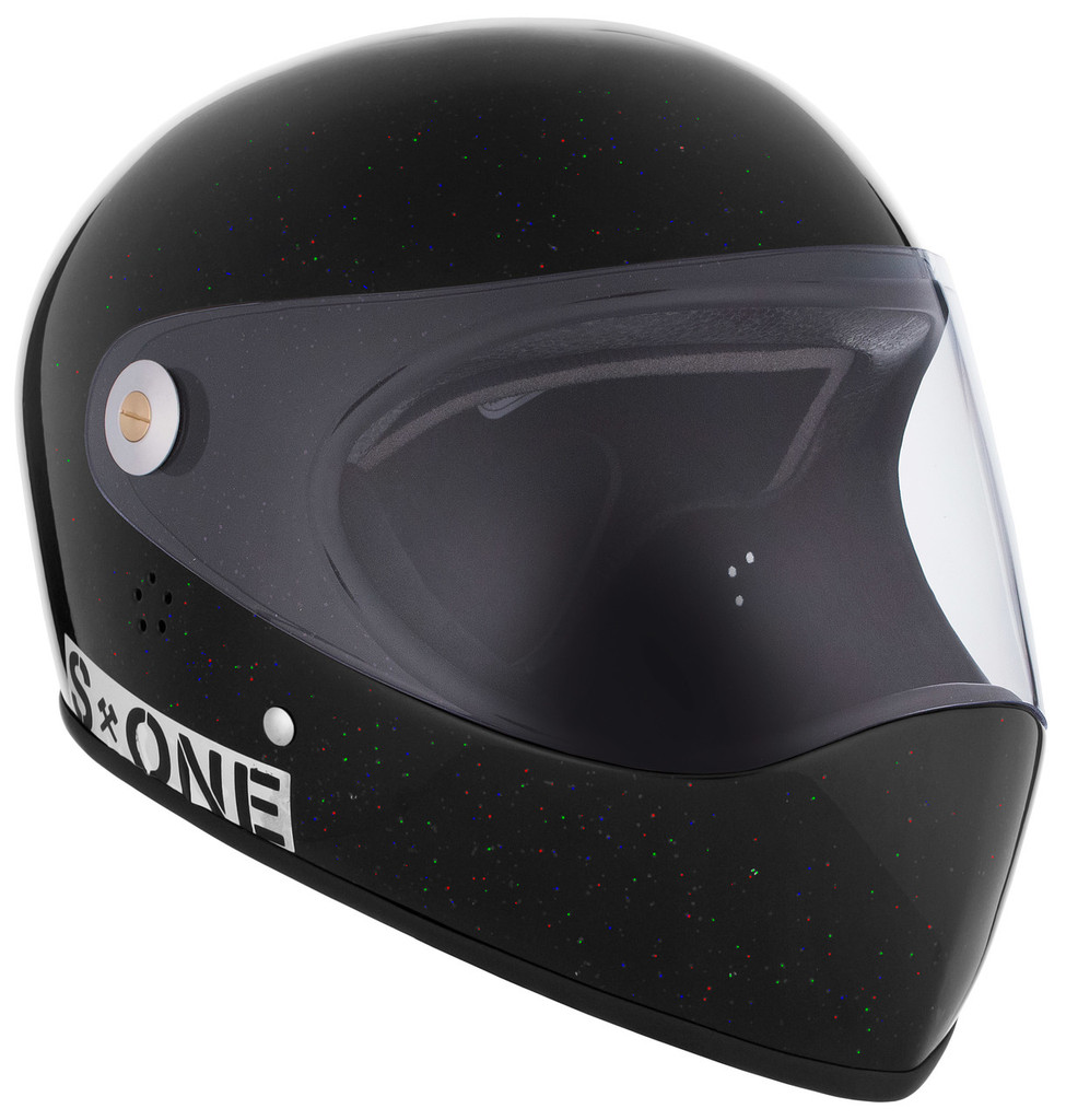Black Gloss Glitter W/ Clear Visor | S1 Lifer Full Face Helmet Specs: • Specially formulated EPS Fusion Foam • Certified Multi-Impact (ASTM) • Certified High Impact (CPSC) • 5x More Protective Than Regular Skate Helmets • Deep Fit Design