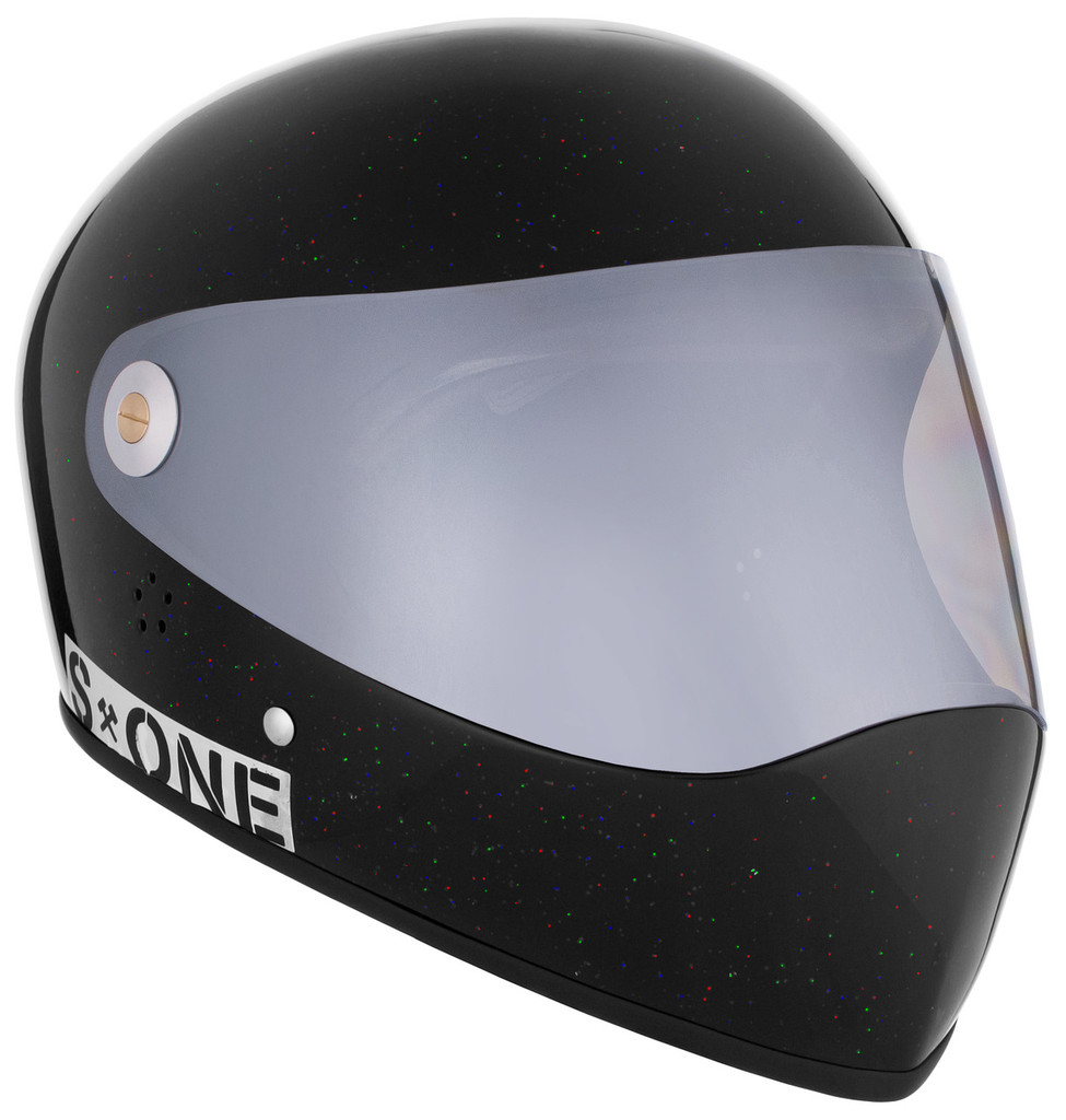 Black Gloss Glitter W/ Mirror Visor | S1 Lifer Full Face Helmet Specs: • Specially formulated EPS Fusion Foam • Certified Multi-Impact (ASTM) • Certified High Impact (CPSC) • 5x More Protective Than Regular Skate Helmets • Deep Fit Design