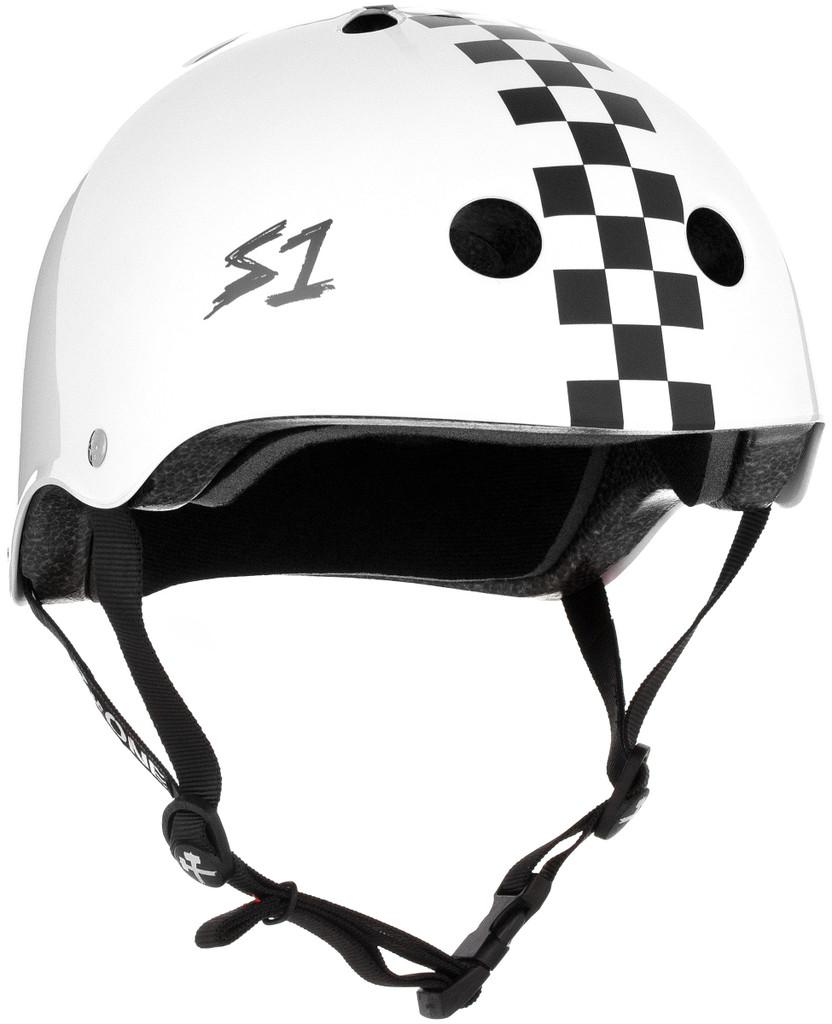 White Gloss w/ Checkers  Skateboard Helmet S1 Lifer 3/4 view