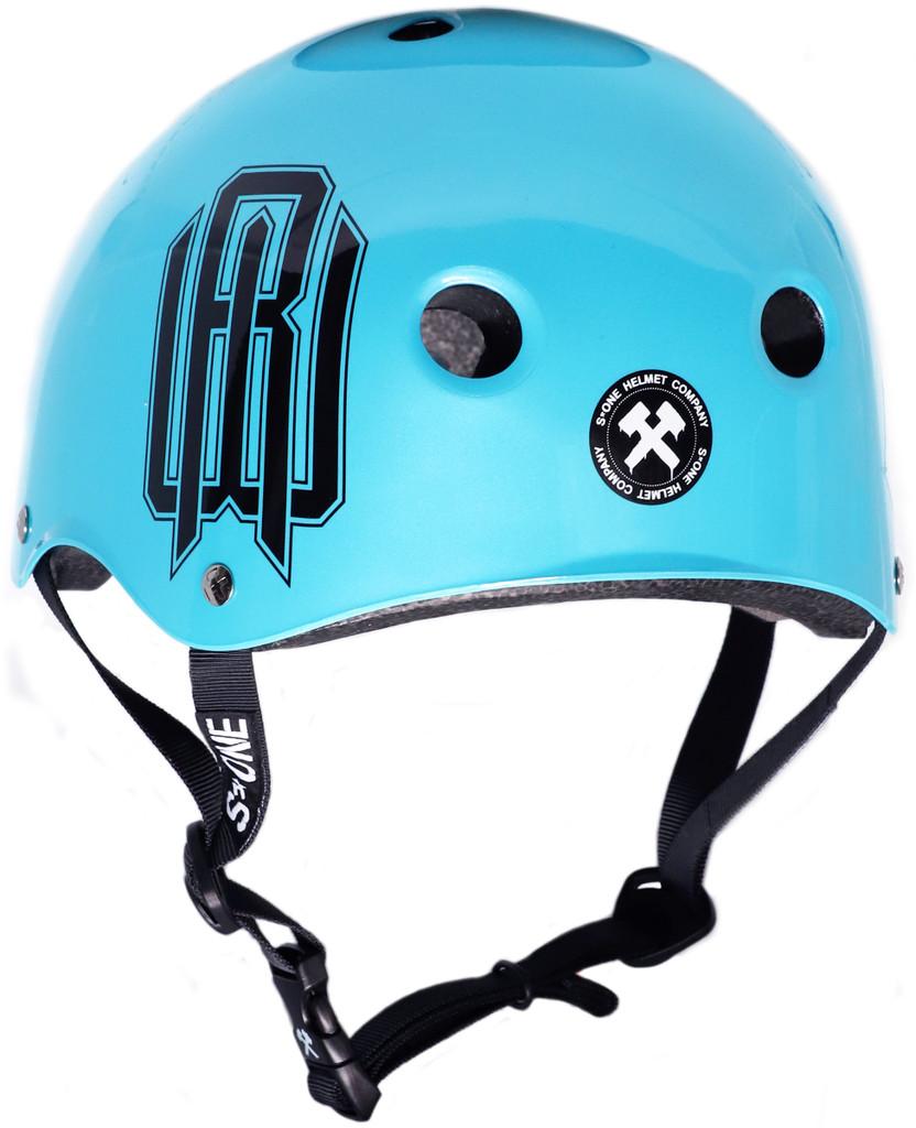 Light Blue Metallic Raymond Warner Scooter Helmet S1 Lifer Rear 3/4 view