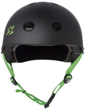 Black Matte w/ Bright Green Straps Skate Helmet S1 Lifer 3/4 view