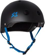 Black Matte w/ Cyan Straps Skate Helmet S1 Lifer 3/4 view