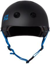 Black Matte w/ Cyan Straps Scooter Helmet S1 Lifer front view.