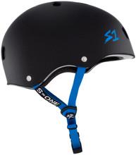 Black Matte w/ Cyan Straps Bicycle Helmet S1 Lifer side view.