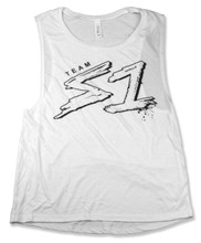 S-ONE Helmet Co. - Team S1 - Flowy Scoop Muscle Tank - White