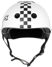 White Gloss w/ Checkers Roller Skate Helmet S1 Lifer front view.