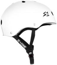White Gloss w/ Checkers Bike Helmet S1 Lifer side view.