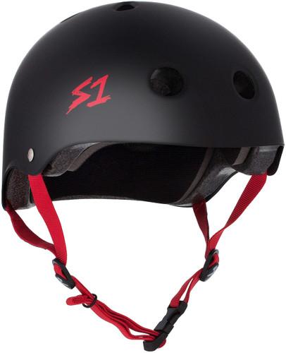 Black Matte w/ Red Straps roller skate Helmet 3/4 view