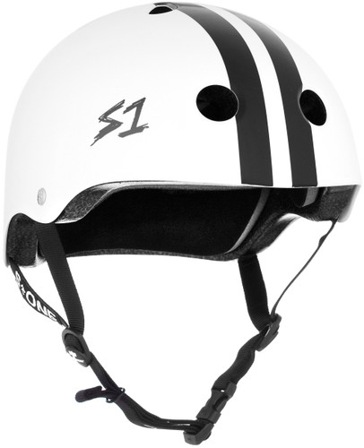 White Gloss w/ Black Stripes Scooter Helmet S1 Lifer 3/4 view.
