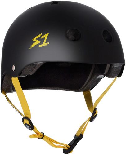 Black Matte w/ Yellow Straps Skate Helmet S1 Lifer 3/4 view