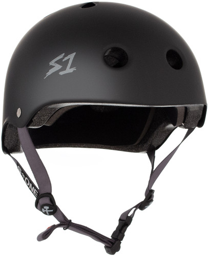 Black Matte  w/ Grey Straps Skate Helmet S1 Lifer 3/4 view