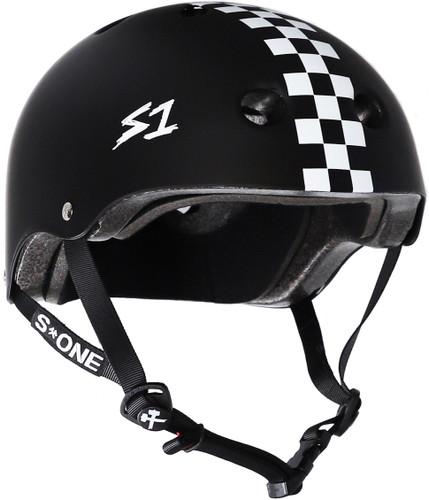 Black Matte w/ Checkers Skate Helmet S1 Lifer 3/4 view