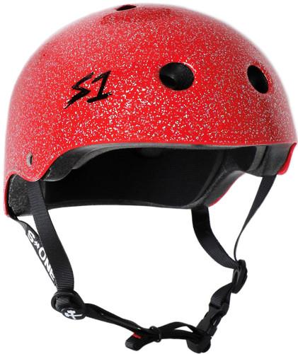 Red Glitter Roller Skate Helmet S1 Lifer 3/4 view
