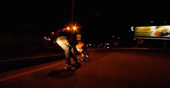 Skating down a Colombian Highway ... at night