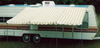 10' Rope and Pole Awning Gold and White (01-5001) PICTURED ON A CAMPER