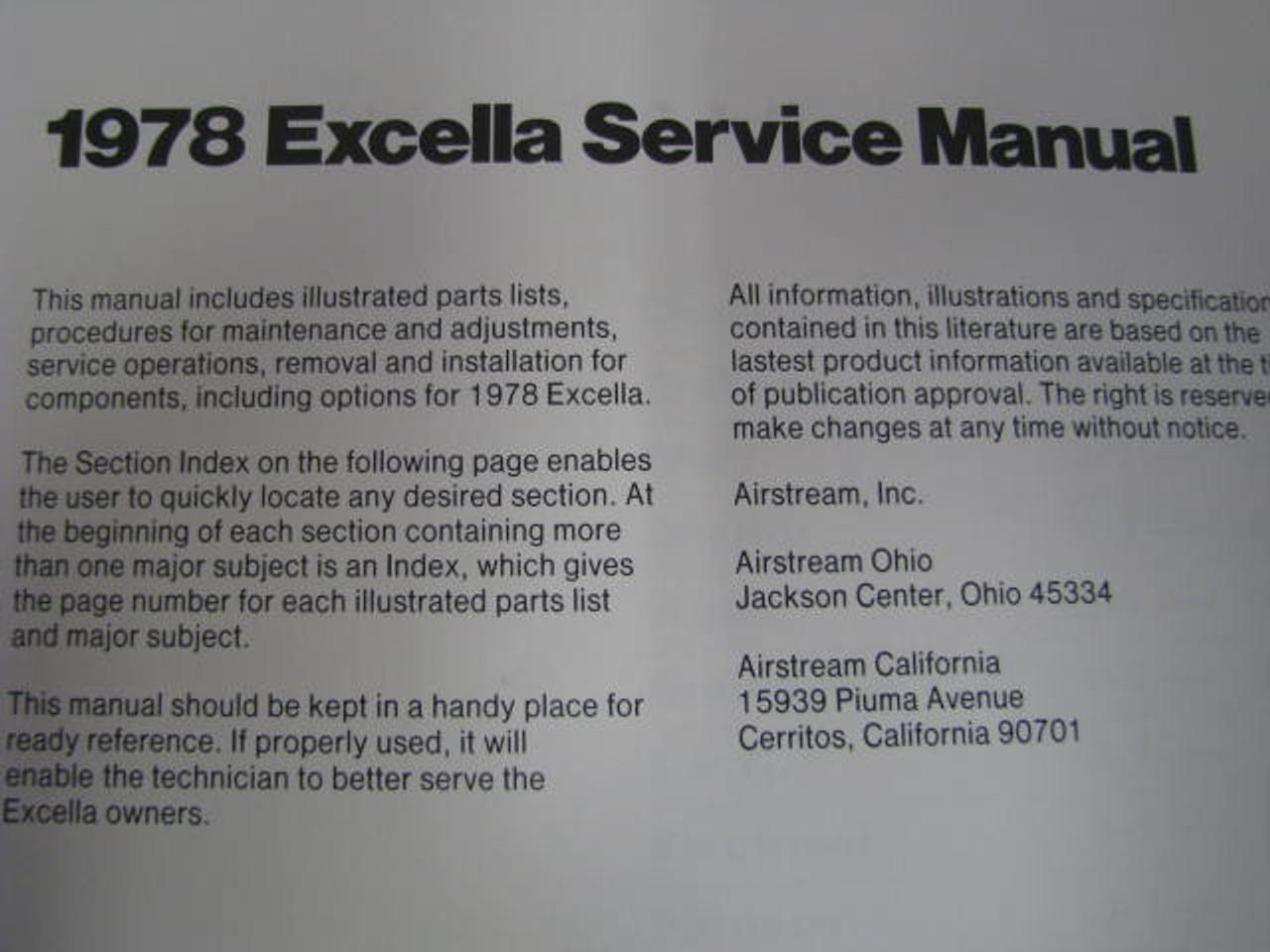 1978 Airstream Excella Service Manual (BL014) INTERIOR PAGE