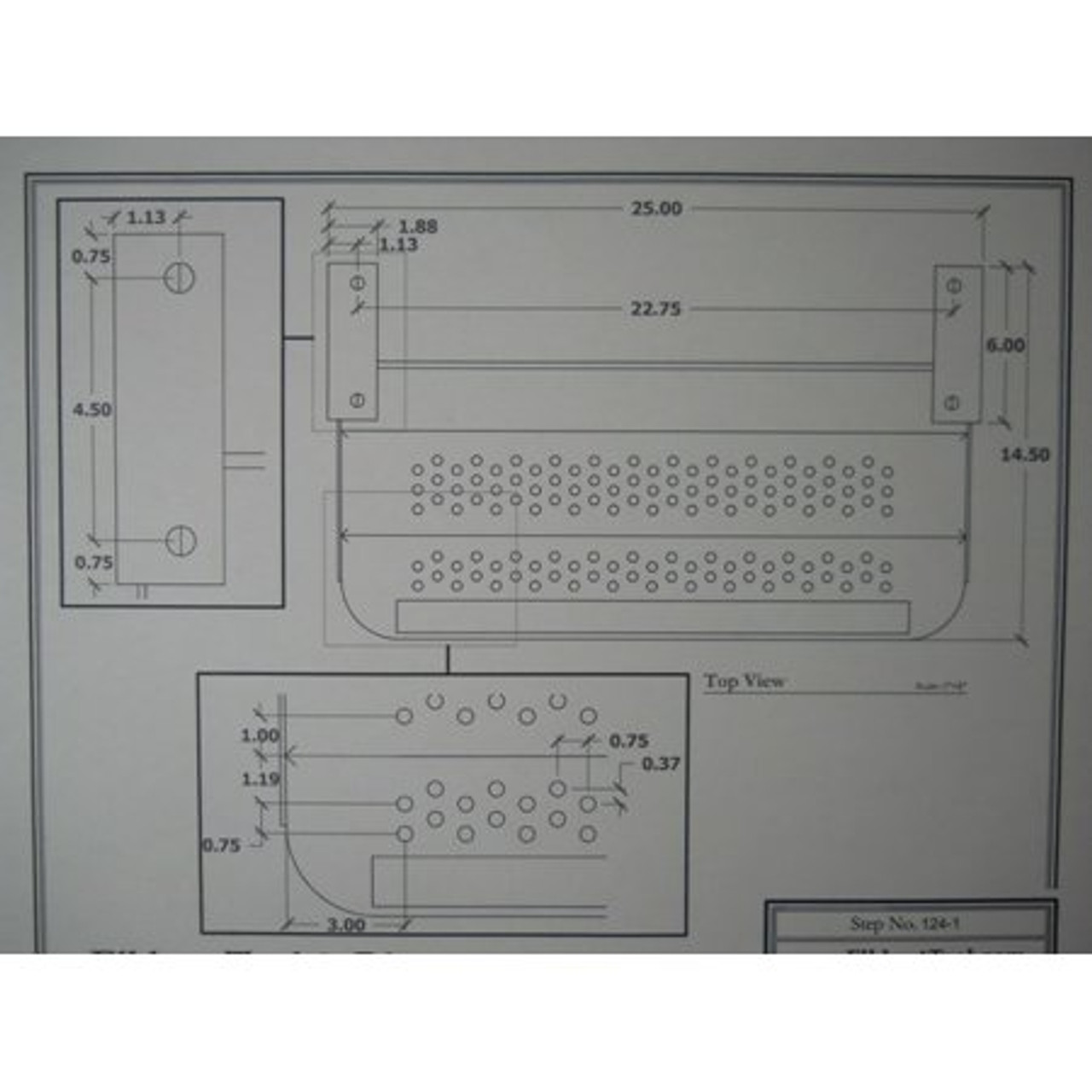 "24"" SINGLE TRAILER STEP - 5"" DROP - (04-1002) DIMENSIONS"