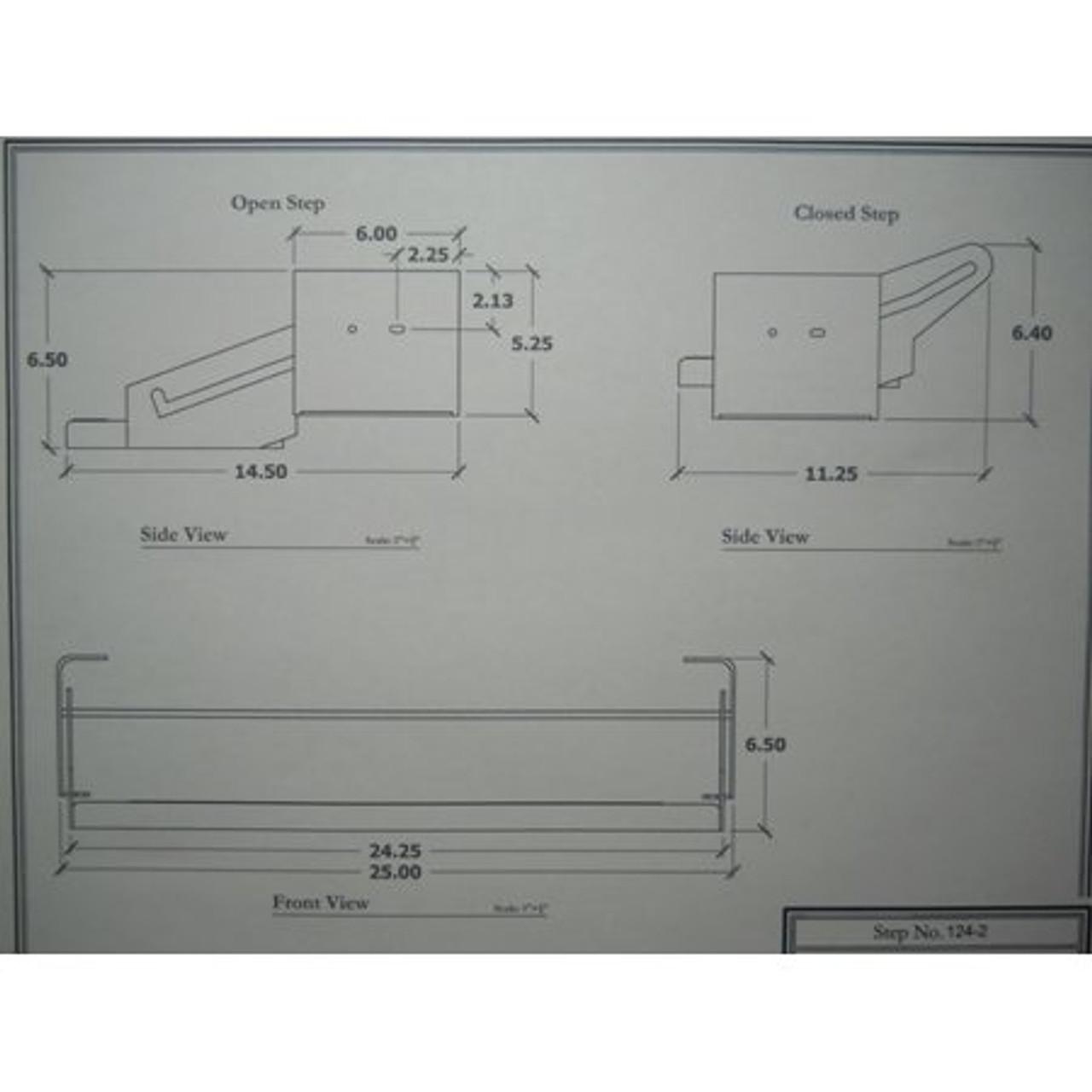 "24"" SINGLE TRAILER STEP - 5"" DROP - (04-1002) DIMENSIONS 2"