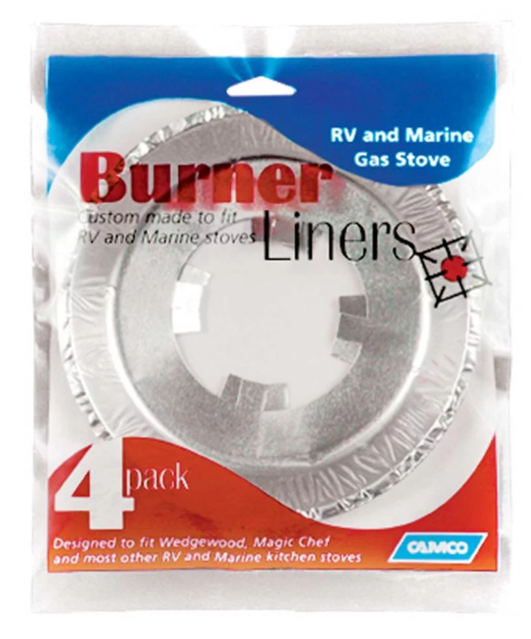4pk STOVE BURNER LINERS (CAMCO) (07-1014) SHOWN IN PACKAGING