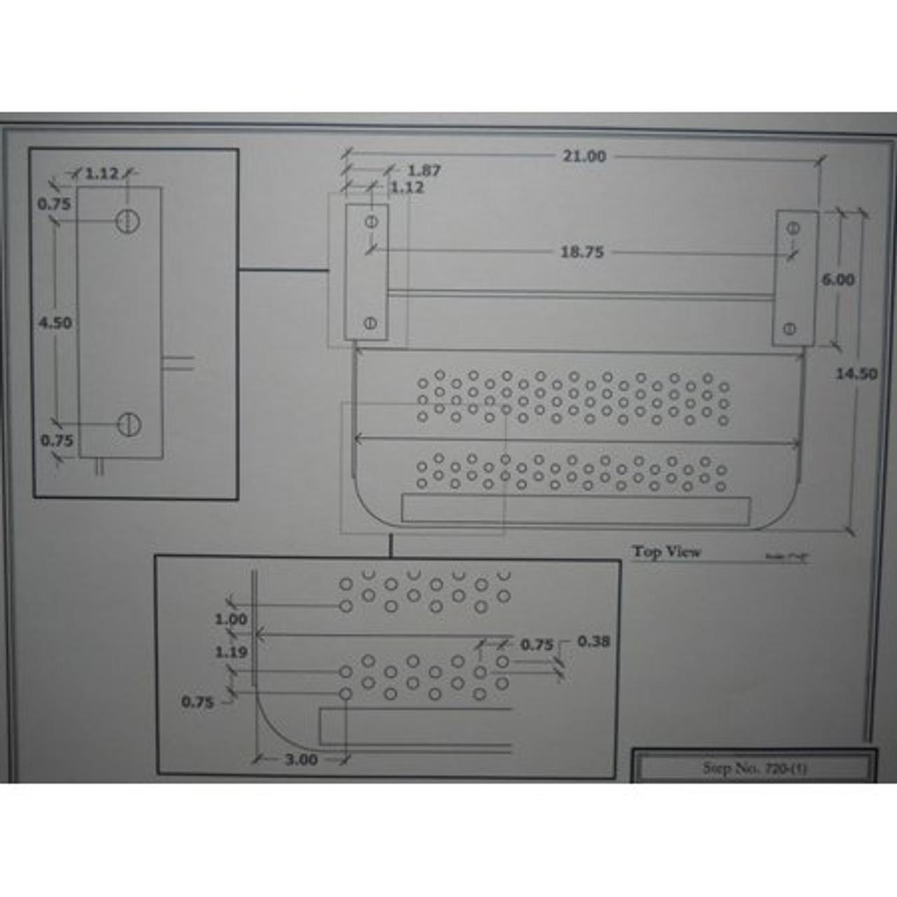 "20"" SINGLE TRAILER STEP - 7"" DROP - (04-1000) DIMENSIONS"
