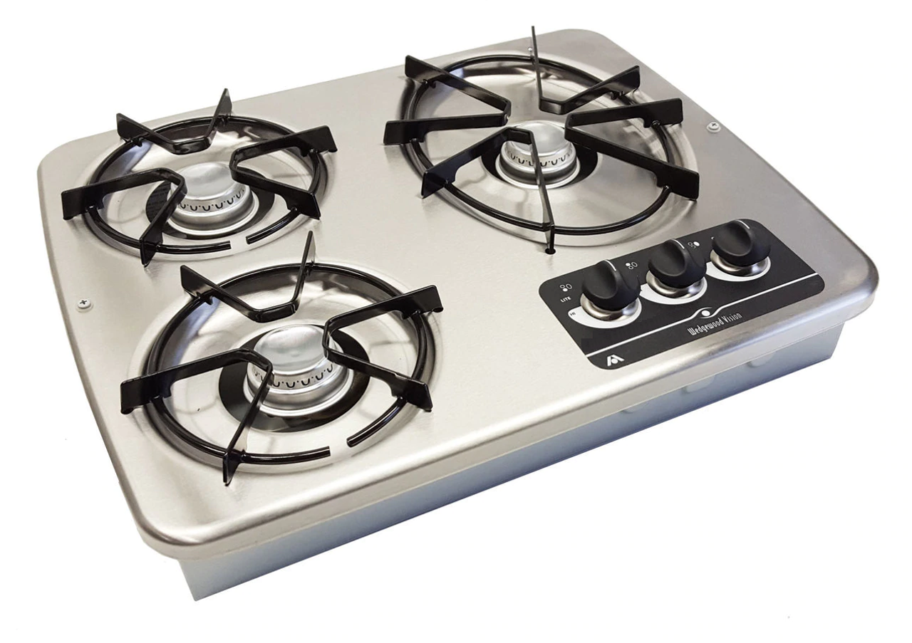 Dometic (Atwood) DV30S Drop-In 3-Burner LP Cooktop - Stainless Steel (07-1011) TOP VIEW