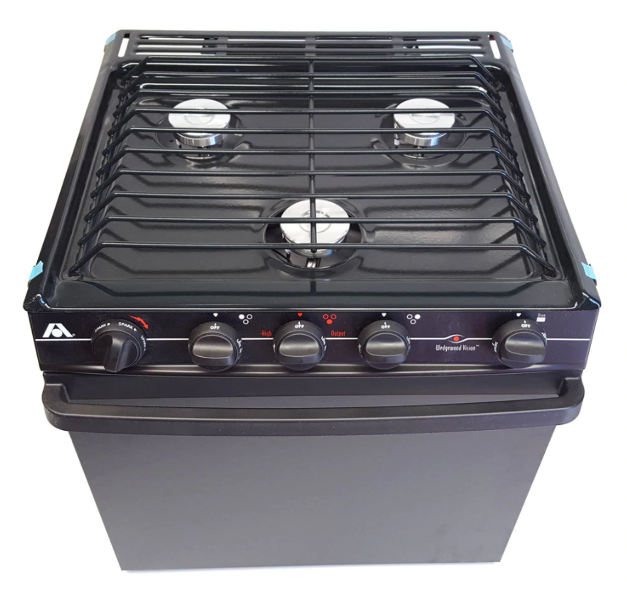 """3 BURNER DOMETIC (ATWOOD) RANGE 21"""" BLACK (07-1007) ANGLED FRONT VIEW"""