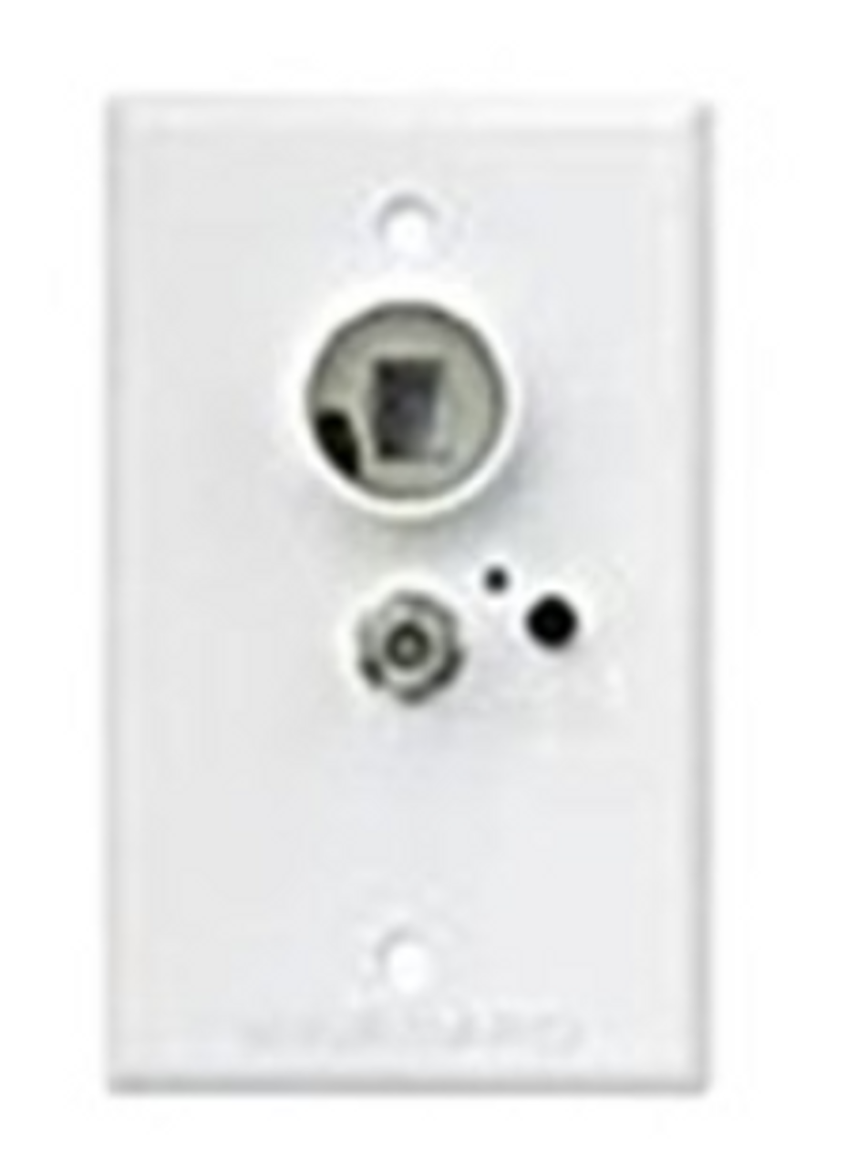 WINEGARD TV OUTLET with BOOSTER, 12 VOLT RECPTACLE - WHITE (24-1002)