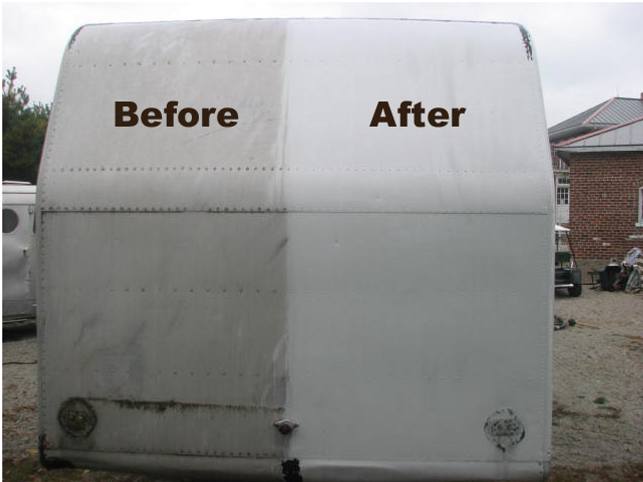 Aluminum Brightener (SC004) BEFORE LEFT AFTER RIGHT SHOWING RESULTS OF USING PRODUCT