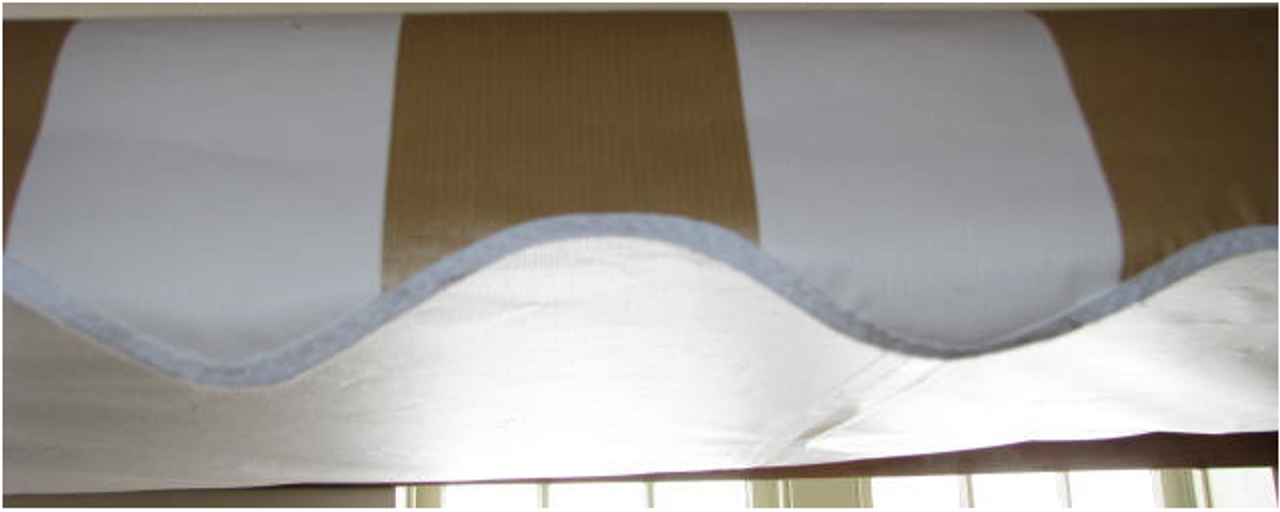 10' Rope and Pole Awning Gold and White (01-5001) UNDERSIDE SHOWN (WHITE)