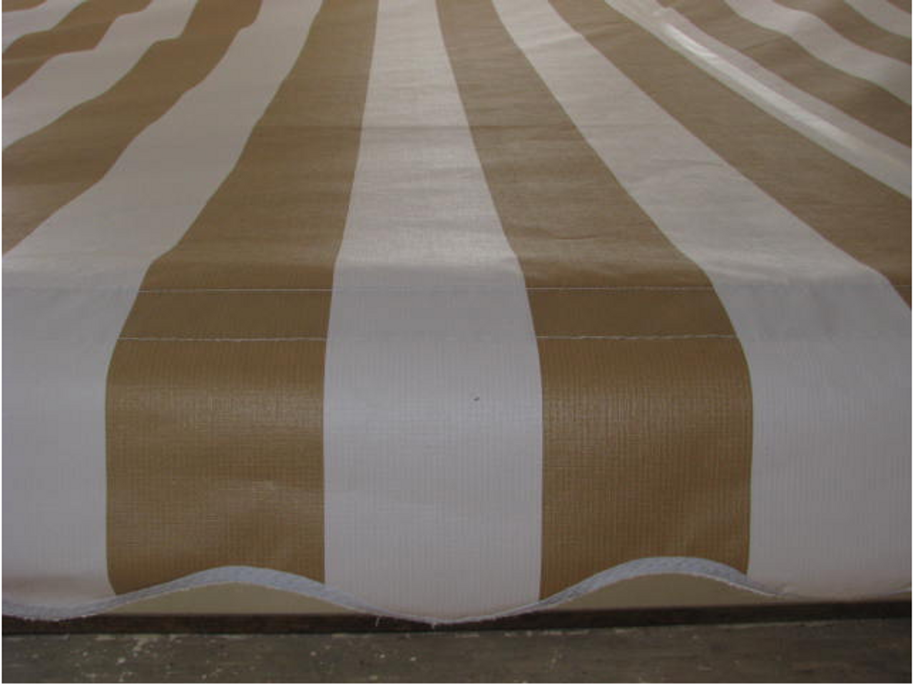 10' Rope and Pole Awning Gold and White (01-5001) ZOOMED FRONT FLAP