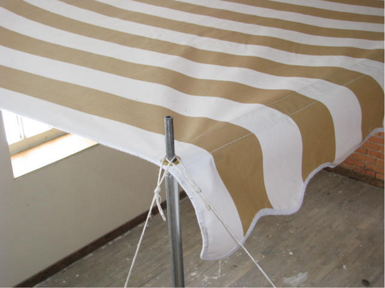 10' Rope and Pole Awning Gold and White (01-5001) ZOOMED VIEW