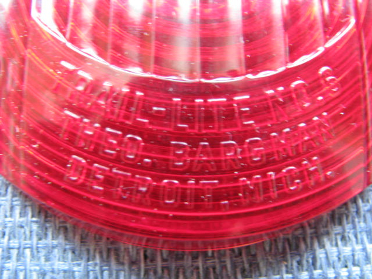 Bargman #6 Reproduction Tail Light Lens (CLT082) ZOOMED FRONT VIEW