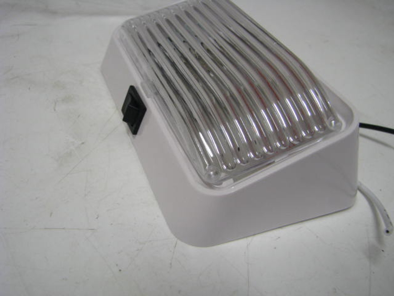Bargman Ash White Porch Light with Switch, Clear Lens (18-1059)