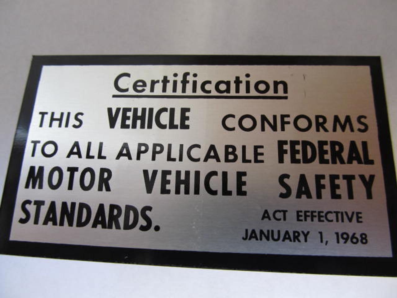 Motor Vehicle Safety Tag (HW457)