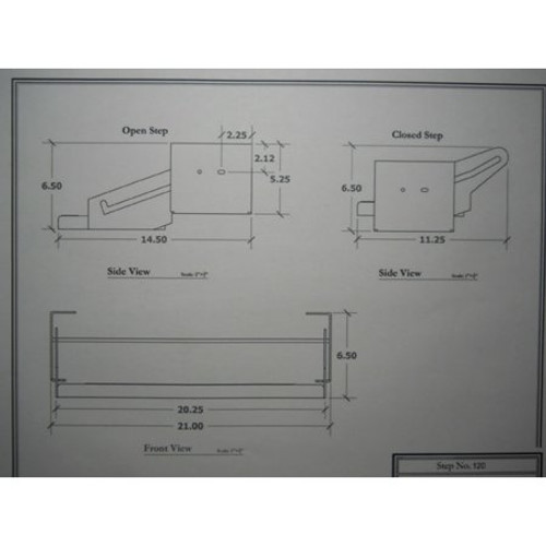 "20"" SINGLE TRAILER STEP - 5"" DROP - (04-1001) DIMENSIONS"