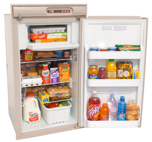NORCOLD N510 REFRIGERATOR 5.5 CU. FT. 2-WAY (07-1001) BEIGE MODEL WITH OPEN DOOR