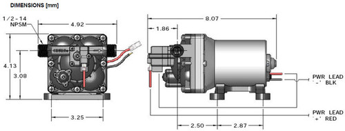 SHURFLO STANDARD WATER PUMP (10-1001) DIMENSIONS ILLUSTRATION