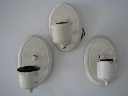 Oval Wall Sconces (Lot of 3) (LT020) ALL 3 ITEMS SHOWN (FRONT VIEW)